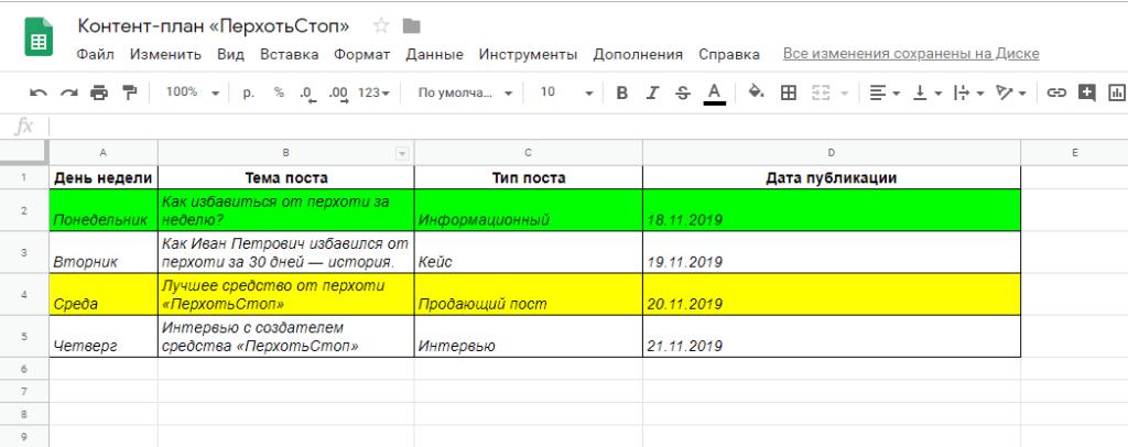 Контент план Вконтакте