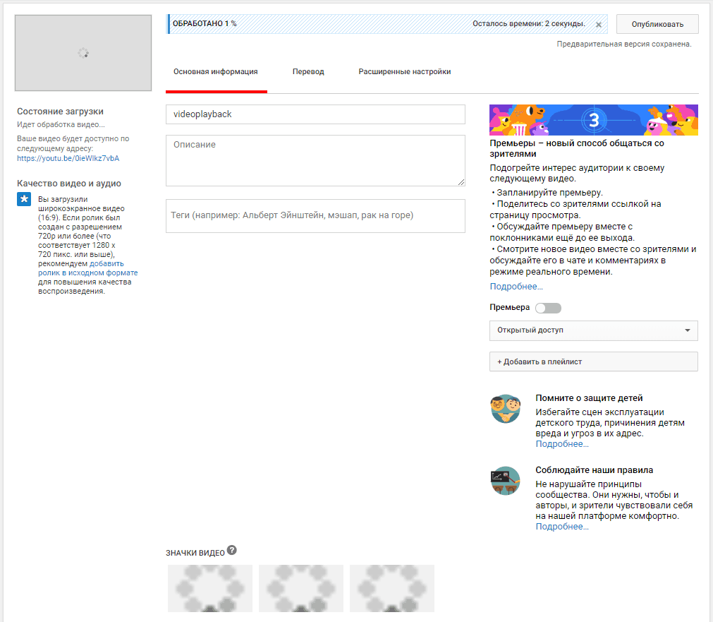 Основная информация о видео