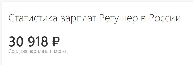 Средняя зарплата ретушера в России