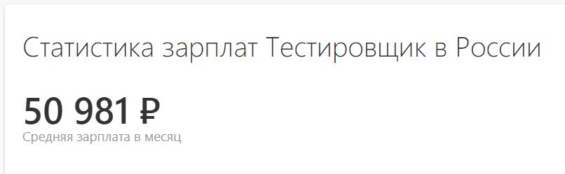 Средняя зарплата тестировщика в России