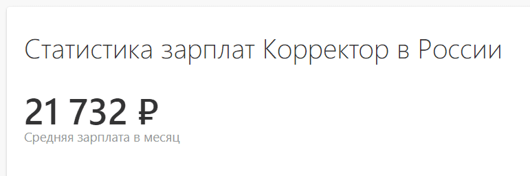 Средняя зарплата корректора в России